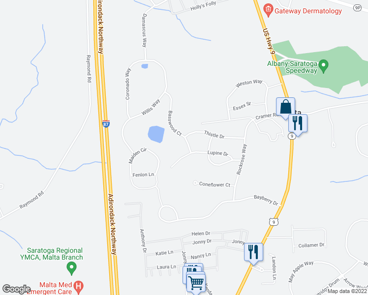 map of restaurants, bars, coffee shops, grocery stores, and more near 3 Basswood Court in Ballston Spa