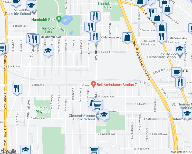 map of restaurants, bars, coffee shops, grocery stores, and more near South Clement Avenue in Milwaukee