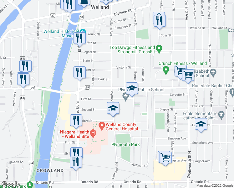 map of restaurants, bars, coffee shops, grocery stores, and more near 110 First Street in Welland