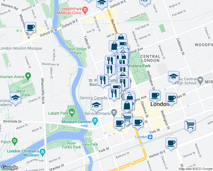 map of restaurants, bars, coffee shops, grocery stores, and more near 520 Talbot Street in London