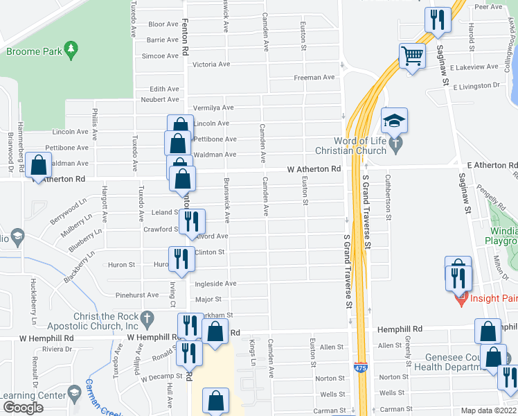 map of restaurants, bars, coffee shops, grocery stores, and more near 809 Leland Street in Flint