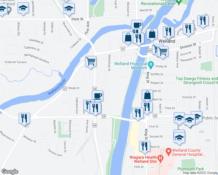 map of restaurants, bars, coffee shops, grocery stores, and more near 195 Denistoun Street in Welland
