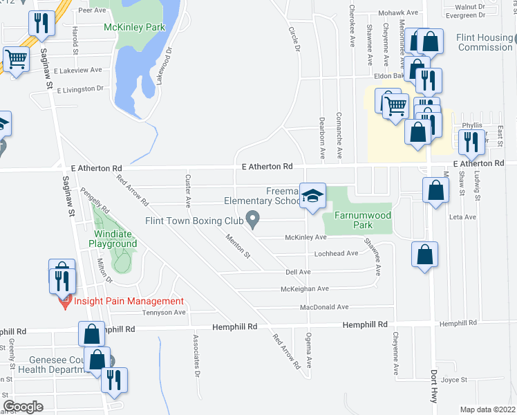 map of restaurants, bars, coffee shops, grocery stores, and more near 532 Burroughs Avenue in Flint