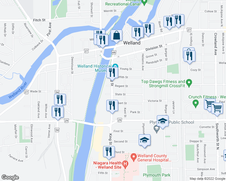 map of restaurants, bars, coffee shops, grocery stores, and more near 222 King Street in Welland