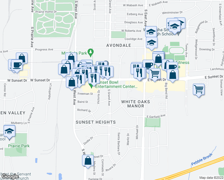 map of restaurants, bars, coffee shops, grocery stores, and more near 1435 South Grand Avenue in Waukesha