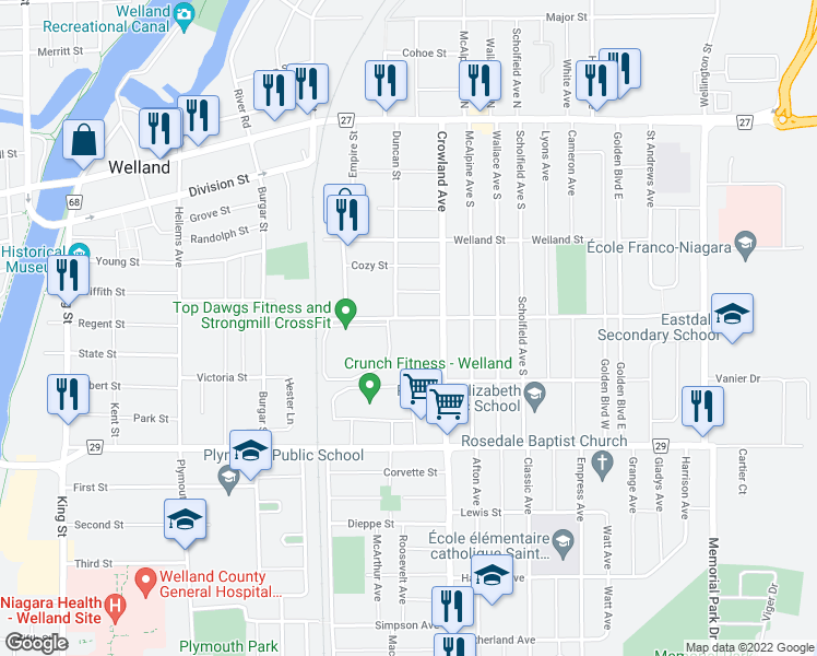 map of restaurants, bars, coffee shops, grocery stores, and more near 155 Hagar Street in Welland