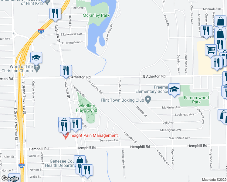 map of restaurants, bars, coffee shops, grocery stores, and more near 337 Burroughs Avenue in Flint
