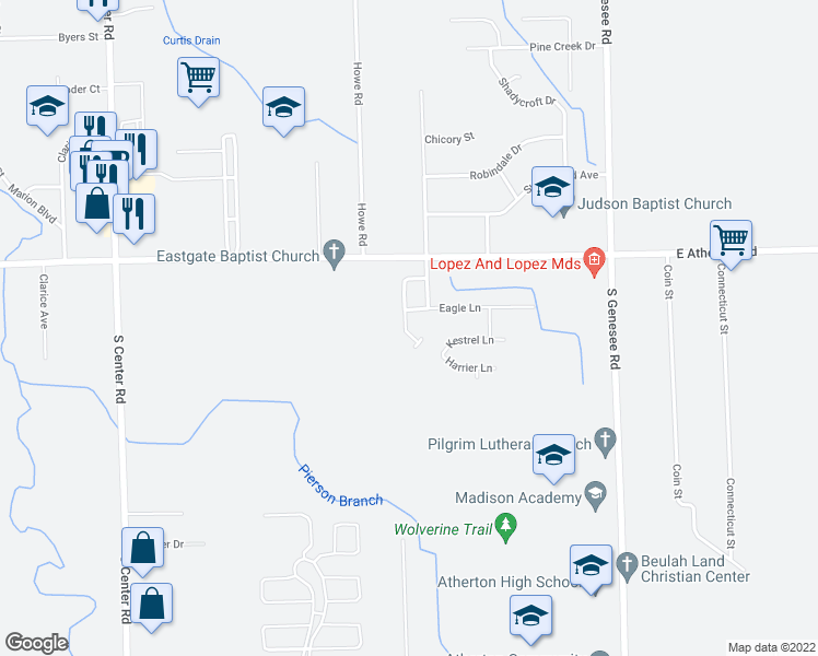 map of restaurants, bars, coffee shops, grocery stores, and more near 3105 Falcon Drive in Burton