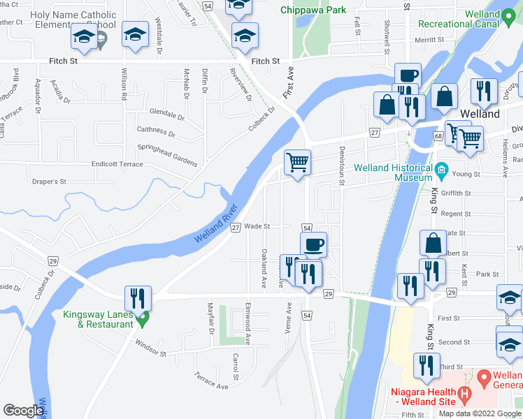 map of restaurants, bars, coffee shops, grocery stores, and more near 39 Oakland Avenue in Welland