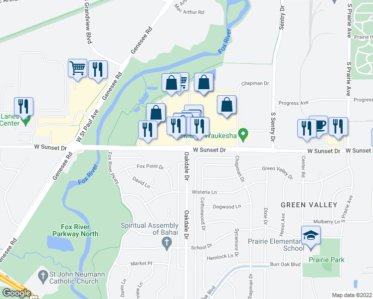 map of restaurants, bars, coffee shops, grocery stores, and more near Oakdale Dr & W Sunset Dr in Waukesha