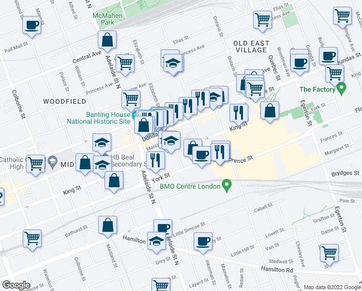 map of restaurants, bars, coffee shops, grocery stores, and more near 700 King Street in London