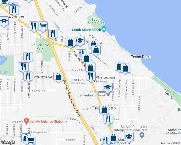 map of restaurants, bars, coffee shops, grocery stores, and more near 3072 South Kinnickinnic Avenue in Milwaukee