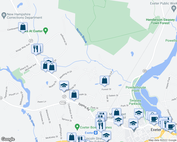 map of restaurants, bars, coffee shops, grocery stores, and more near 50 Brookside Drive in Exeter