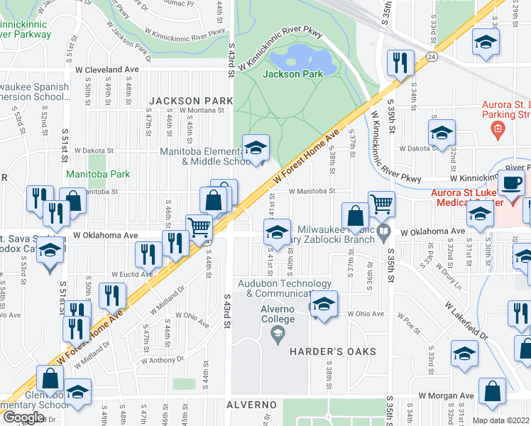 map of restaurants, bars, coffee shops, grocery stores, and more near 3051 South 41st Street in Milwaukee