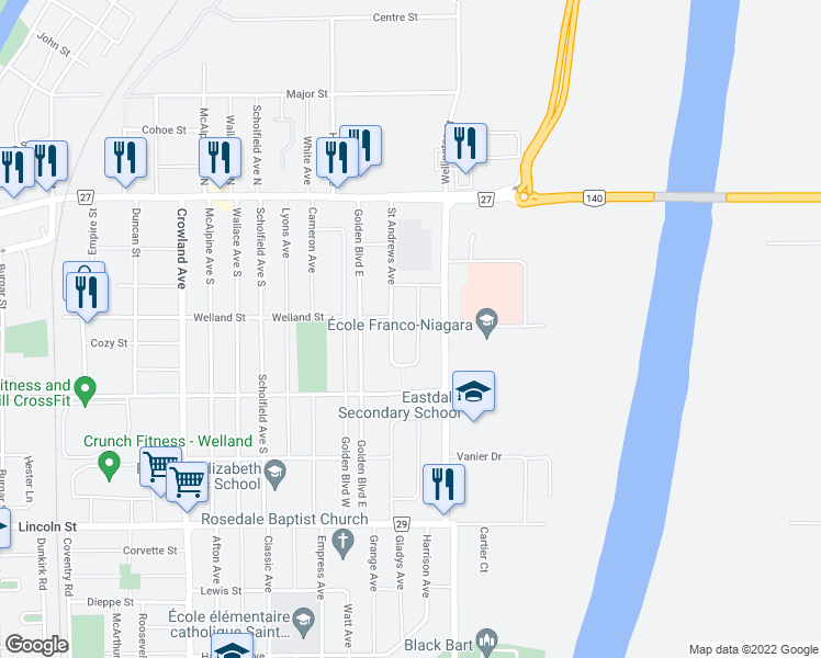 map of restaurants, bars, coffee shops, grocery stores, and more near 89 Garon Avenue in Welland