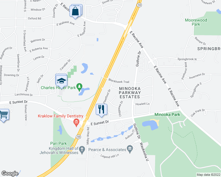map of restaurants, bars, coffee shops, grocery stores, and more near 1226-1298 Fleetfoot Drive in Waukesha