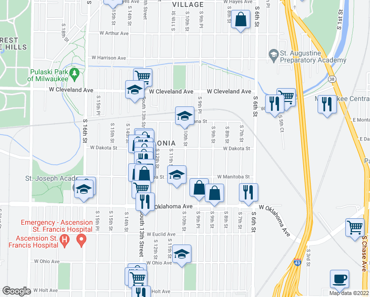 map of restaurants, bars, coffee shops, grocery stores, and more near South 10th Place in Milwaukee