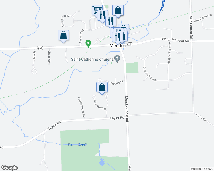map of restaurants, bars, coffee shops, grocery stores, and more near 10 Chateau Pl in Mendon