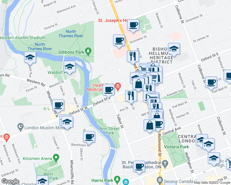 map of restaurants, bars, coffee shops, grocery stores, and more near 137 Oxford Street East in London