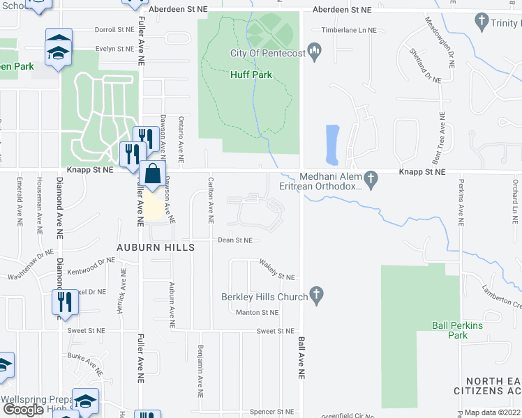 map of restaurants, bars, coffee shops, grocery stores, and more near 1513 Hidden Creek Circle Drive Northeast in Grand Rapids