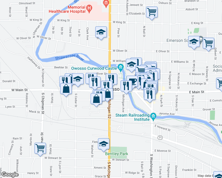 map of restaurants, bars, coffee shops, grocery stores, and more near 119 North Delaney Road in Owosso