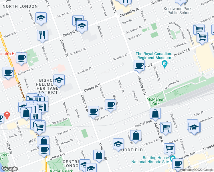 map of restaurants, bars, coffee shops, grocery stores, and more near 500 Oxford Street East in London