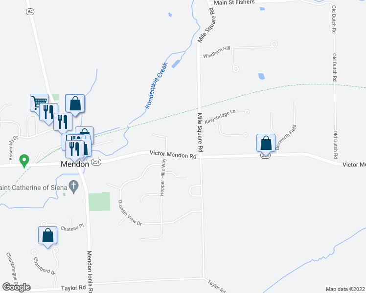 map of restaurants, bars, coffee shops, grocery stores, and more near 106 Victor Mendon Road in Mendon