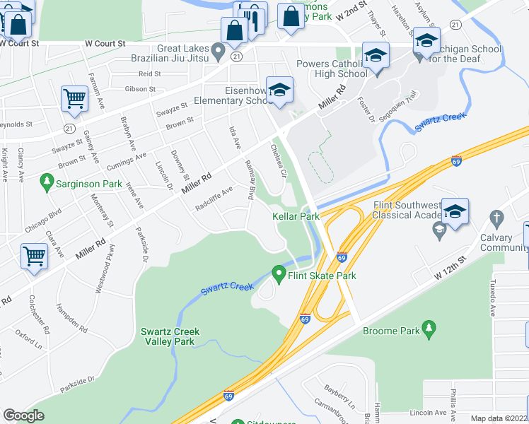 map of restaurants, bars, coffee shops, grocery stores, and more near 1822 Cambridge Avenue in Flint