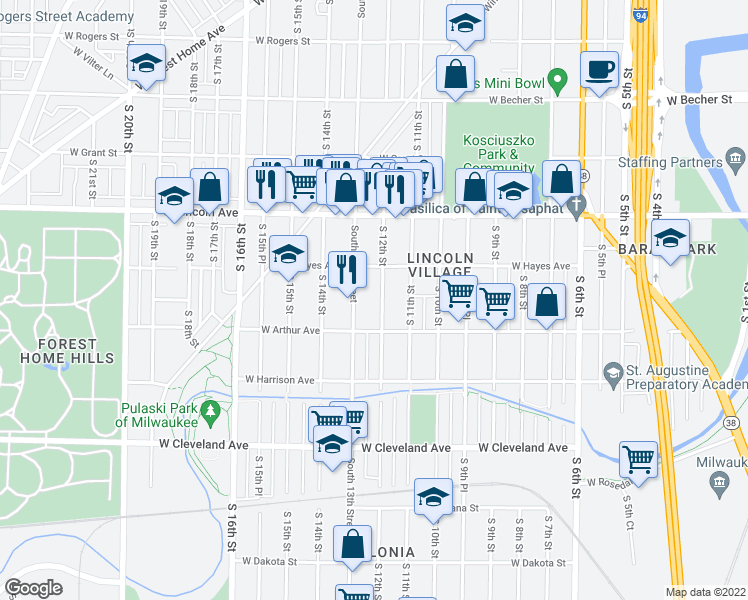 map of restaurants, bars, coffee shops, grocery stores, and more near 2447 South 12th Street in Milwaukee
