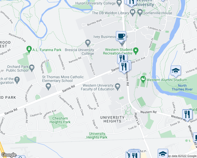 map of restaurants, bars, coffee shops, grocery stores, and more near 262 Sarnia Road in London