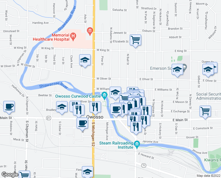 map of restaurants, bars, coffee shops, grocery stores, and more near 319 North Adams Street in Owosso