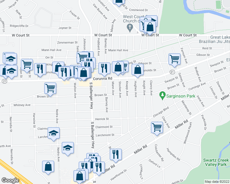 map of restaurants, bars, coffee shops, grocery stores, and more near 1217 Mann Avenue in Flint