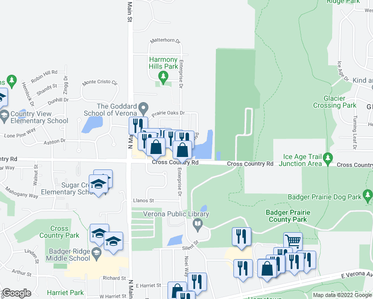 map of restaurants, bars, coffee shops, grocery stores, and more near 1049 Enterprise Drive in Verona
