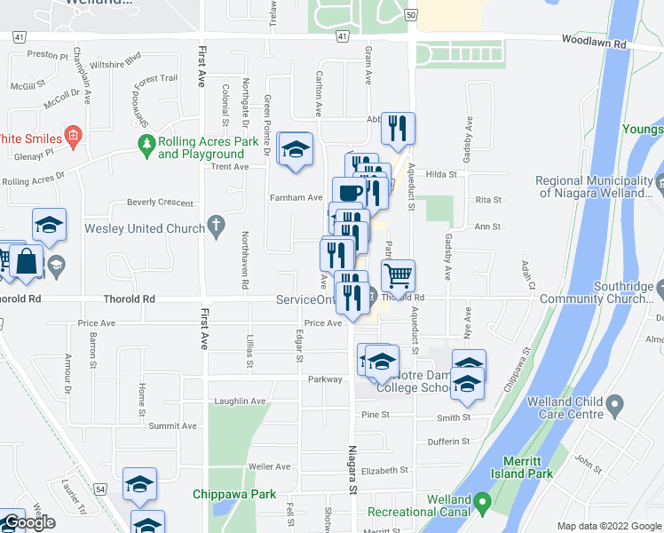 map of restaurants, bars, coffee shops, grocery stores, and more near 14 Carlton Avenue in Welland