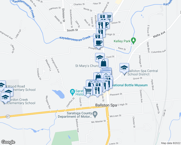 map of restaurants, bars, coffee shops, grocery stores, and more near 133 Bath Street in Ballston Spa