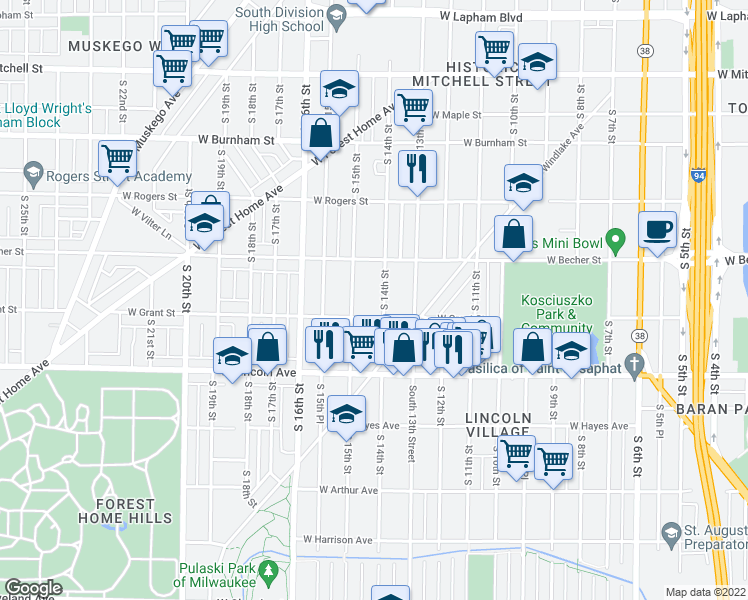 map of restaurants, bars, coffee shops, grocery stores, and more near 2157 South 14th Street in Milwaukee