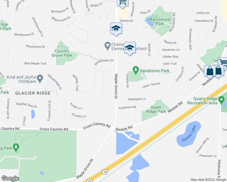 map of restaurants, bars, coffee shops, grocery stores, and more near 3864 Maple Grove Drive in Madison