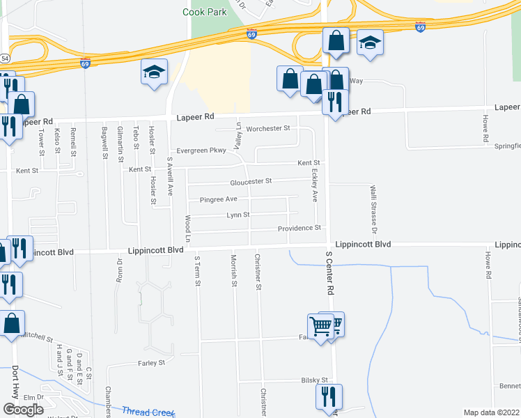 map of restaurants, bars, coffee shops, grocery stores, and more near 3713 Lynn Street in Flint