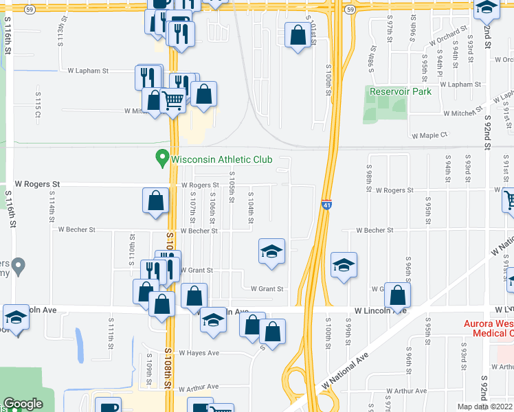 map of restaurants, bars, coffee shops, grocery stores, and more near 2038 South 104th Street in West Allis
