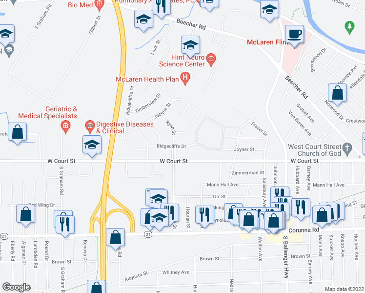 map of restaurants, bars, coffee shops, grocery stores, and more near 1801 Ridgecliffe Drive in Flint