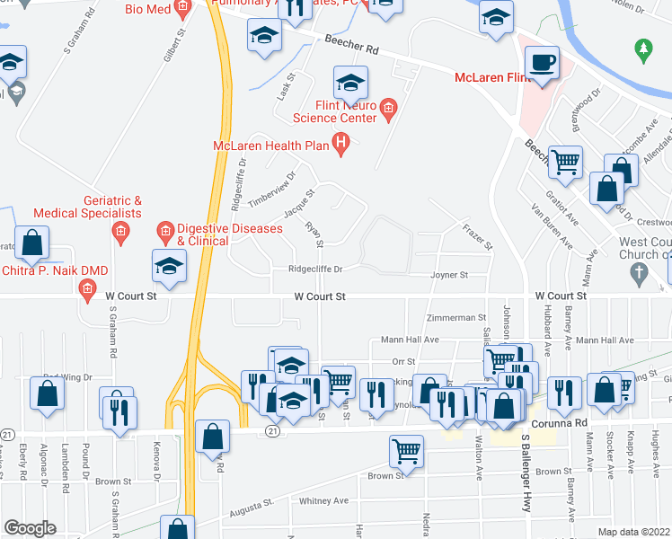 map of restaurants, bars, coffee shops, grocery stores, and more near 1801 Ridgecliffe Dr in Flint Township