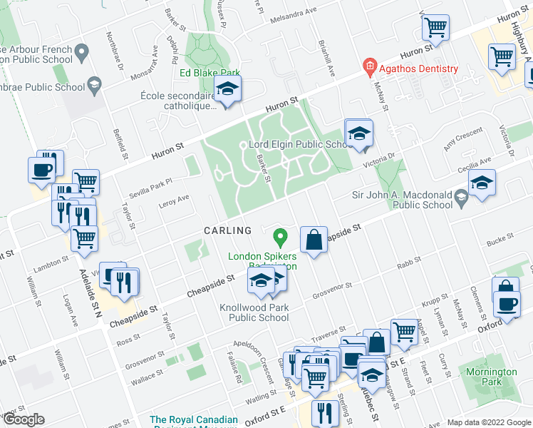 map of restaurants, bars, coffee shops, grocery stores, and more near 787 Victoria Street in London