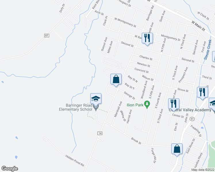 map of restaurants, bars, coffee shops, grocery stores, and more near 131 Colonial Circle in Ilion