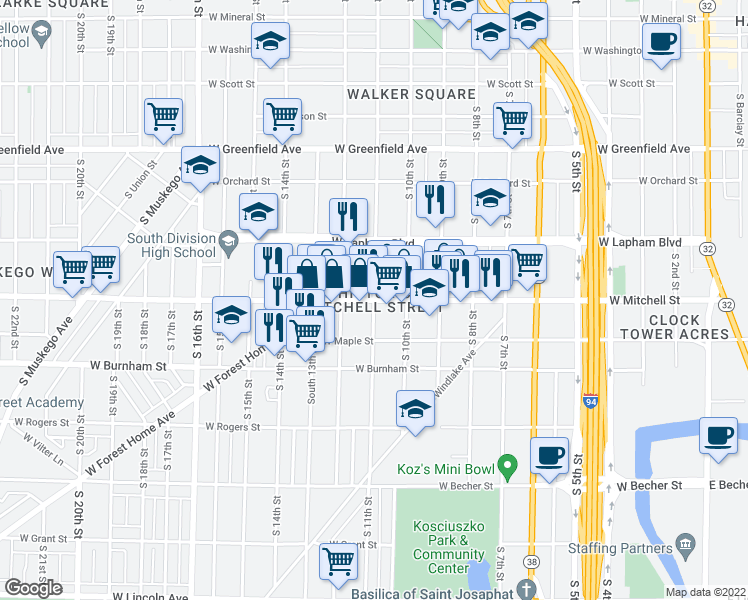 map of restaurants, bars, coffee shops, grocery stores, and more near W Mitchell St & S 11th St in Milwaukee