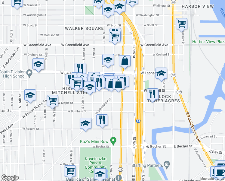 map of restaurants, bars, coffee shops, grocery stores, and more near W Historic Mitchell St & S 7th St in Milwaukee