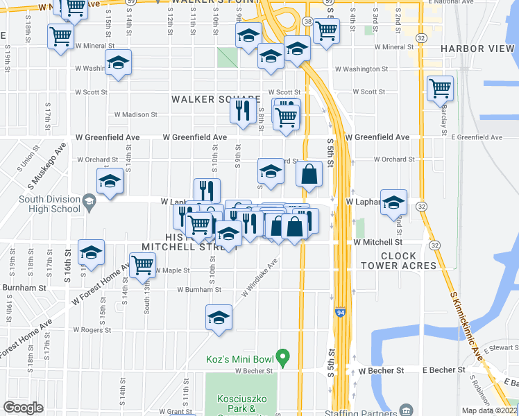 map of restaurants, bars, coffee shops, grocery stores, and more near 725 West Lapham Boulevard in Milwaukee