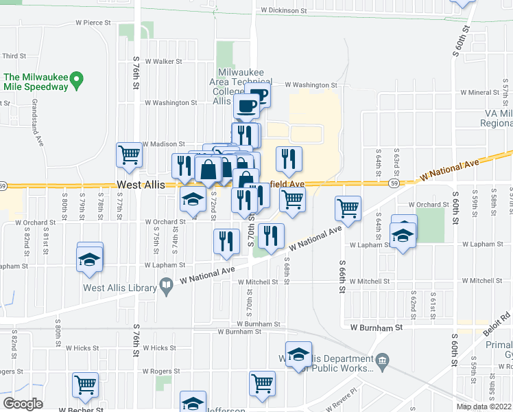 map of restaurants, bars, coffee shops, grocery stores, and more near 1444 South 70th Street in West Allis