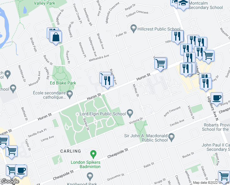 map of restaurants, bars, coffee shops, grocery stores, and more near 955 Huron Street in London