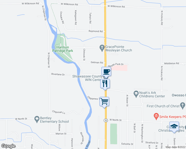 map of restaurants, bars, coffee shops, grocery stores, and more near Laura Lane in Owosso charter Township