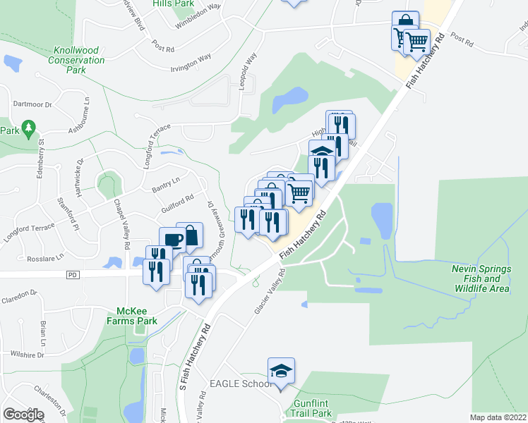 map of restaurants, bars, coffee shops, grocery stores, and more near 2981 Cahill Main in Fitchburg